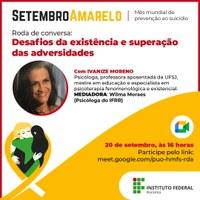 SETEMBRO AMARELO – Desafios da existência e superação das adversidades serão discutidos em roda de conversa promovida pelo IFRR